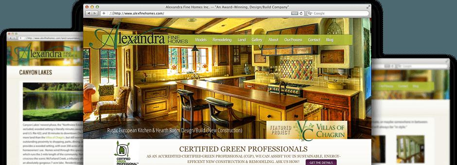 screen shot of website at alexfinehomes.com developed by transmit studios, dave kuhar and joe mendel