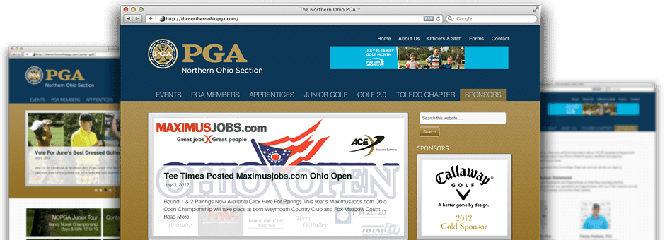 screen shot of website at thenorthernohiopga.com developed by transmit studios, dave kuhar and joe mendel