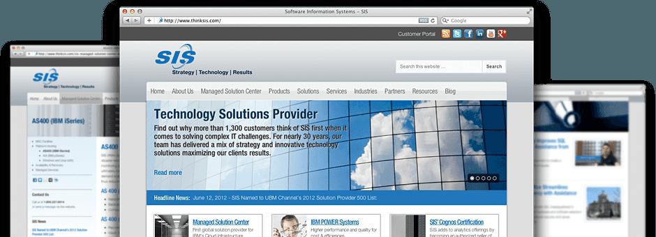 screen shot of website at thinksis.com developed by transmit studios, dave kuhar and joe mendel