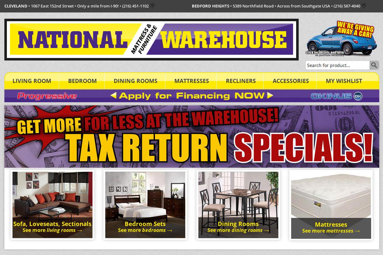 Web design development transmit studio for Nationwide mattress and furniture warehouse